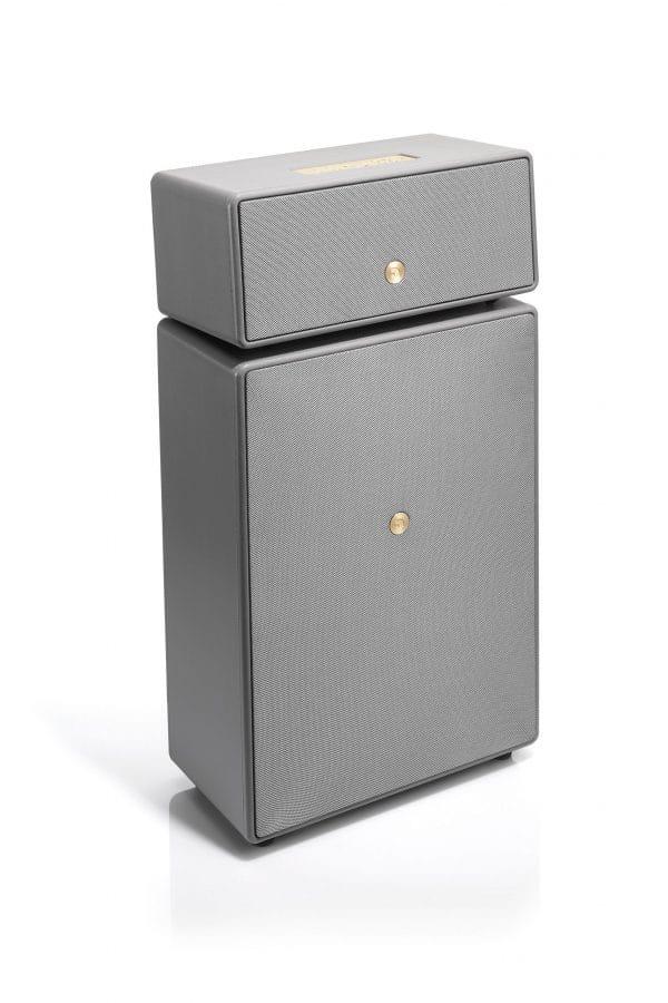 wireless multiroom speaker Drumfire grey side works with alexa AudioPro scaled e1599665743748