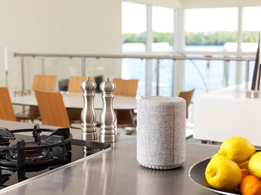 wireless multiroom speaker A10 lightgray Lifestyle works with alexa AudioPro 01