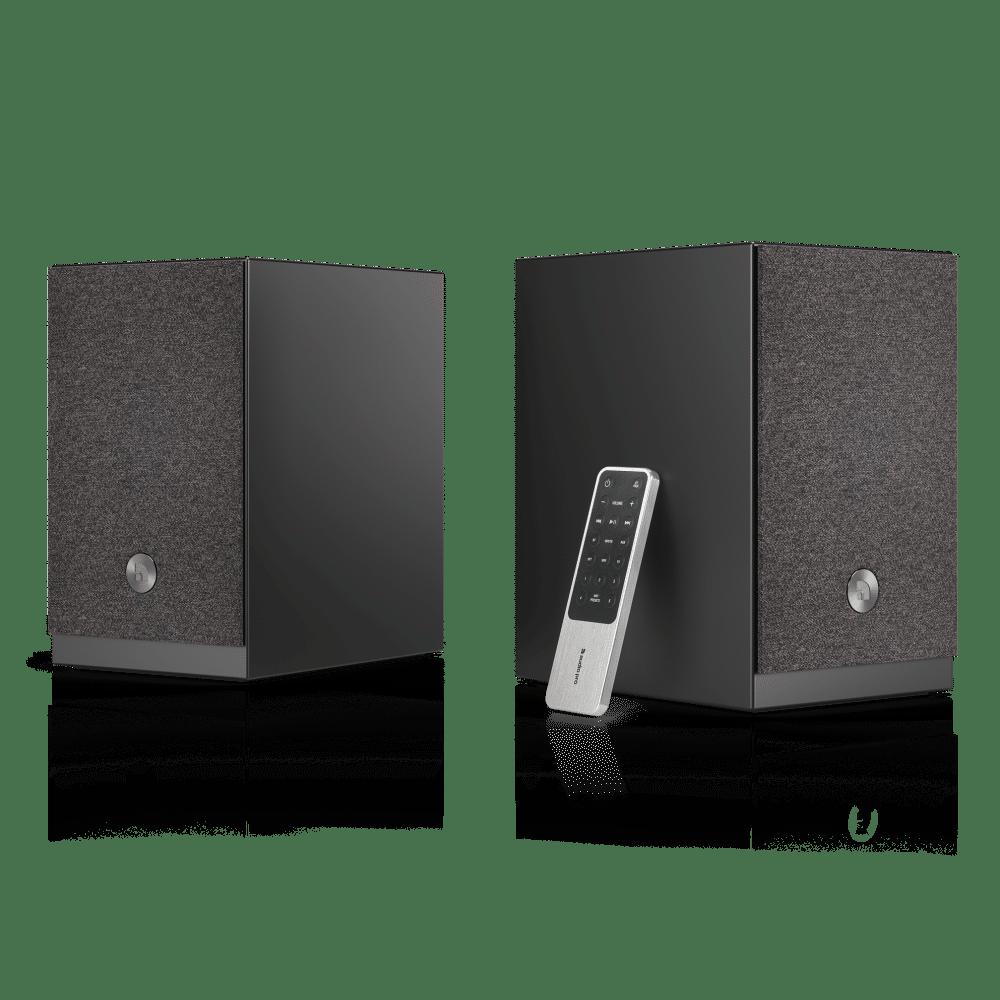 wireless-multiroom-speaker-A26-black-angle1-remote-AudioPro
