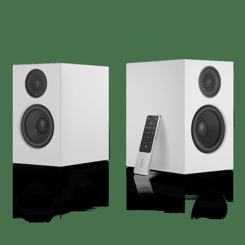 wireless-multiroom-speaker-A26-white-angle1-remote-nofront-AudioPro