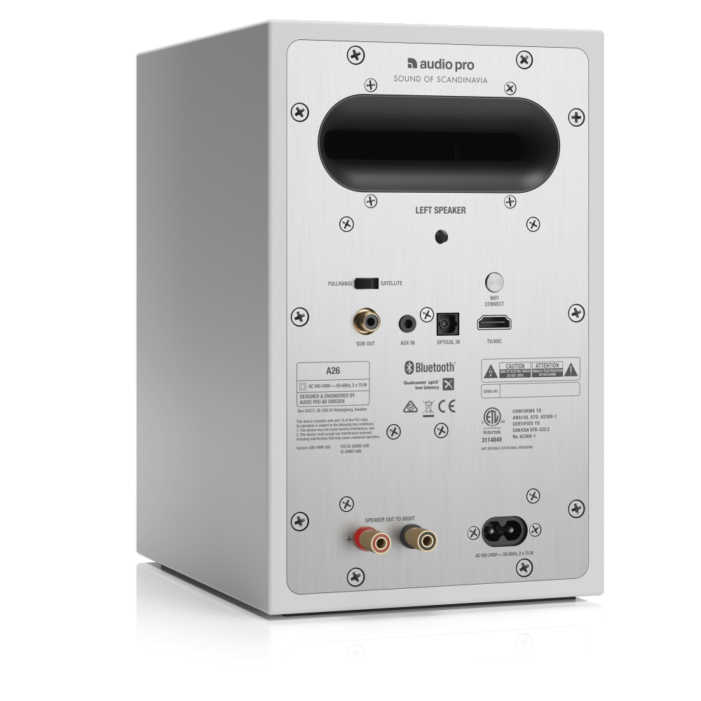 wireless multiroom speaker A26 white back angle1 AudioPro e1603414629342