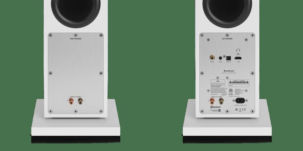 wireless multiroom speaker A36 white back closeup AudioPro e1603414954287