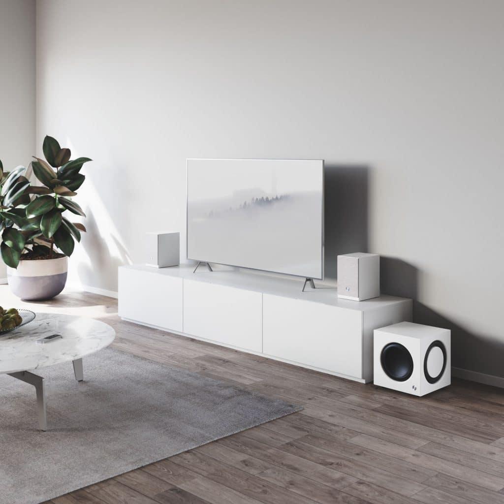 Active subwoofer SW 10wireless multiroom speaker A26 white lifestyle1 AudioPro